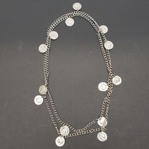 Vintage silvertone COIN NECKLACE from the 1950s